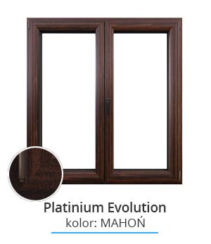 Okno Platinium Evolution, kolor: mahoń