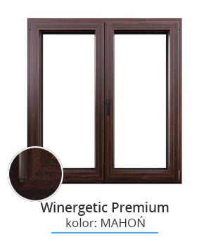 Okno Winergetic Premium, kolor: mahoń